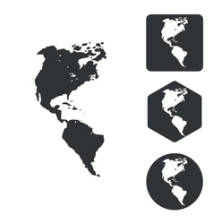American continents icon set monochrome vector