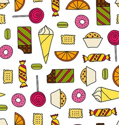 Seamless texture with sweets vector