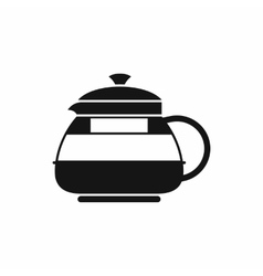 Glass teapot icon simple style vector