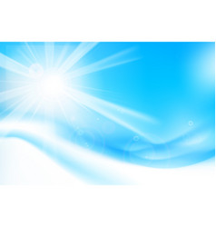 Abstract blue background with sunlight and flare vector