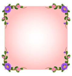 An empty pink template with floral margin vector