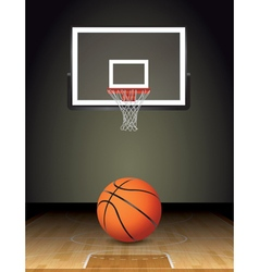 Basketball Court Ball and Hoop vector image