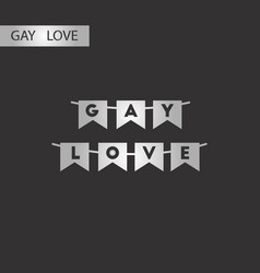 Black and white style icon gay love garland vector