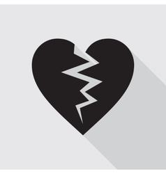 Broken heart flat icon in black color vector