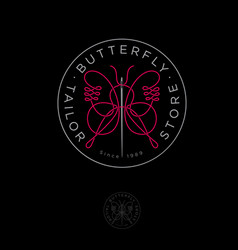 butterfly logo sewing studio emblem vector image