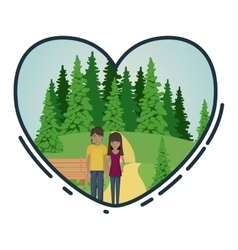 Cartoon couple inside heart design vector