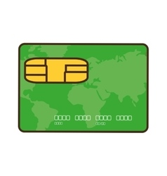 Cartoon green credit card global bank vector