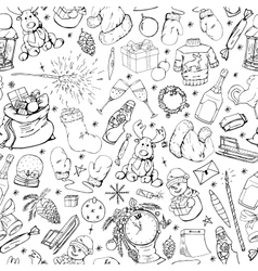 Christmas seamless pattern in doodle style vector