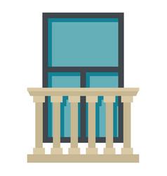 Classic balcony balustrade with window icon vector