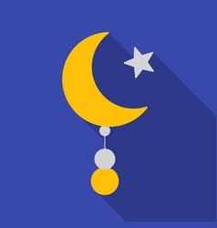 crescent and star icon in flat style isolated on vector image vector image