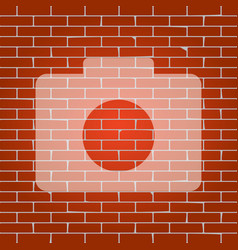 digital camera sign whitish icon on brick vector image