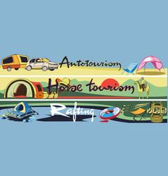 doodle outdoor recreation horizontal banners vector image