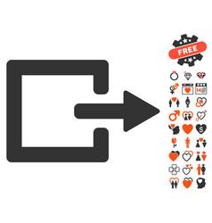 Exit icon with love bonus vector