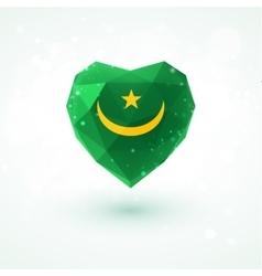 Flag of mauritania in shape diamond glass heart vector
