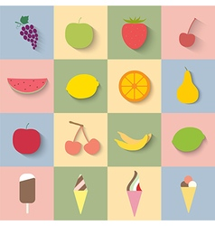Flat icon fruit and ice cream vector