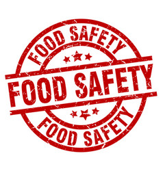 food safety round red grunge stamp vector image vector image