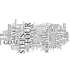 Four steps to success text background word cloud vector