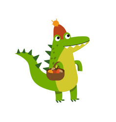 funny cartoon crocodile character gathering vector image vector image