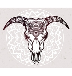 Hand drawn romantic ornate goat skull vector