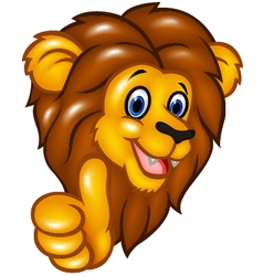 Happy lion mascot giving thumbs up vector