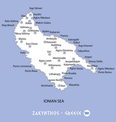 Island of zakynthos in greece white map and blue vector
