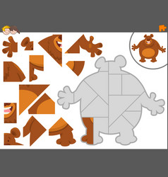 jigsaw puzzle game with bear animal vector image vector image