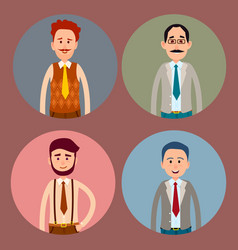 Men character four colorful icons collection vector