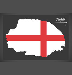 Norfolk map england uk with english national flag vector