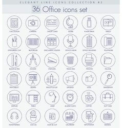 Office outline icon set elegant thin line vector