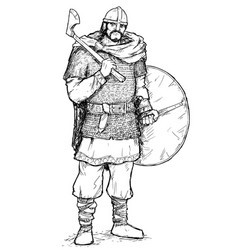 pen and ink of viking warrior with axe and shield vector image