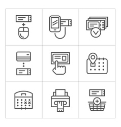 Set line icons of booking tickets vector image vector image