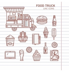 Set of linear icons food truck vector