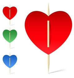 Set of paper hearts on toothpicks vector