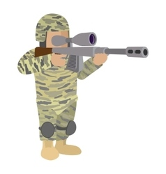 Soldier in camouflage cartoon icon vector