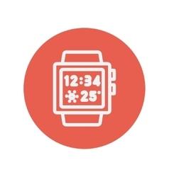 Trendy smartwatch thin line icon vector