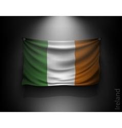 waving flag ireland on a dark wall vector image vector image