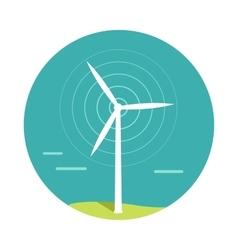 Wind turbine in flat design vector