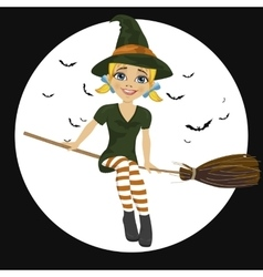 witch in green dress flying on broom vector image vector image