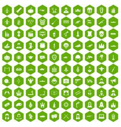 100 film icons hexagon green vector