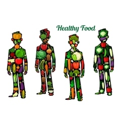 Healthy food nutrition human body icons vector