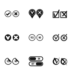 Yes no choice icons set simple style vector