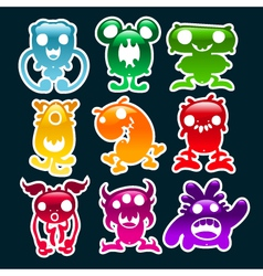 Colorful glossy monsters vector