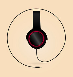 Modern headphones with wire isolated on background vector