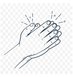Icon hands in prayer linear style vector