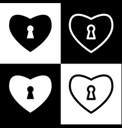 Heart with lock sign  black and white vector