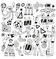 Dancing robots - doodles vector