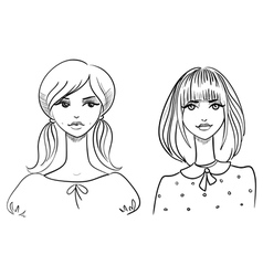 Fashionable girls drawn by hand vector