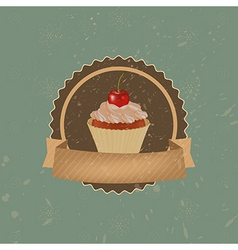 Vintage cupcake with cherry and ribbon vector