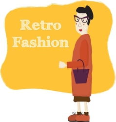 Old cartoon woman wearing fashion glasses vector