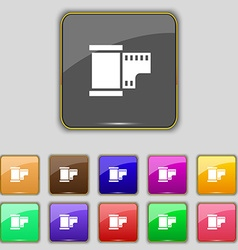 35 mm negative films icon sign Set with eleven vector image
